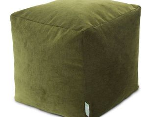 Fern  Majestic Home Goods Villa Collection Indoor Ottoman Pouf Cube 18x18