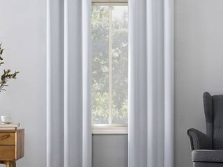 Kenneth Energy Saving Blackout Grommet Top Curtain Panel Pair  2  White   Sun Zero