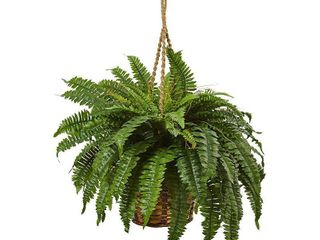 Nearly Natural Boston Fern 29 inch High Hanging Basket