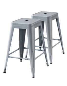 Rustic Vintage Metal Bar Stools Set of 2  Retail 109 99