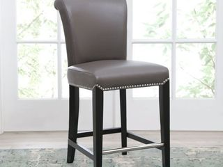 Abbyson Century 25 inch Grey leather Counter Stool  Retail 299 99