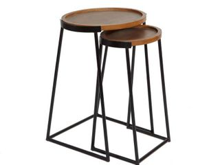 Metal and Wood Nesting Tables Black   Silverwood
