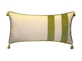 Edie Home Striped Tassel lumbar Decorative Pillow  Green  15X30
