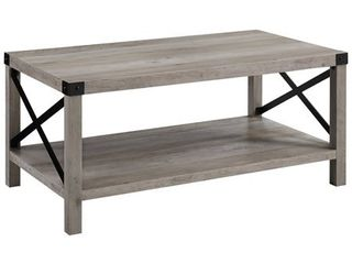 40  inch Wood and Metal X Coffee Table in Grey Wash