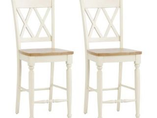 Al Fresco III Driftwood and Sand Double X back Counter Height Barstool  Set of 2  Retail 224 99