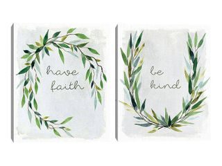 Faith Greenery Wreath and Kind Greenery Wreath by Carol Robinson Set of 2 Canvas Art Prints