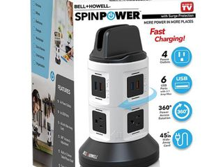 Spin Powera Smart Charging Station  multi outlet including USB ports and seven foot retractable cord  As Seen on TV