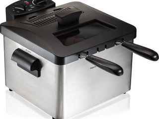 Hamilton Beach   Professional 12 Cup Deep Fryer with 3 Baskets   Silver Black