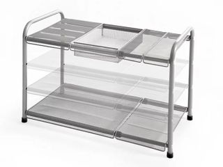 Org 2 tier Mesh Expandable Under sink Shelf In Silver