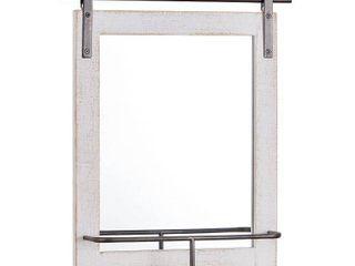 FirsTime   Co  Ingram Barn Door Mirror With Shelf   25 H x 20 W