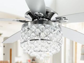 Chrome 4 light Chandelier Crystal 5 Blade Ceiling Fan with Remote