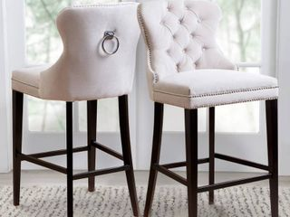 Abbyson Versailles 30 inch Ivory Tufted Barstool
