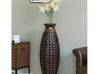Tall Bamboo Floor Standing Vase with Wicker Woven Design 39 Inch High