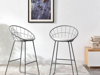 Carson Carrington Banne Wrought Iron Modern Extra Tall Barstool  Set of 2  Bid 23992 For 4