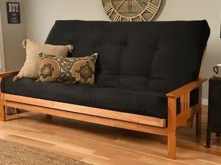 Butternut Finish Hardwood Queen Futon with Suede Mattress   Black Suede  2 Boxes  from Kodiak Furniture