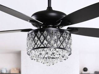 52 in Black 4 light Crystal 5 Blade Ceiling Fan with Remote   52 inch