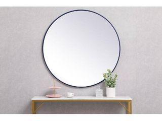 Carson Carrington labbemala Metal Frame Round Mirror  Blue   36  Diameter