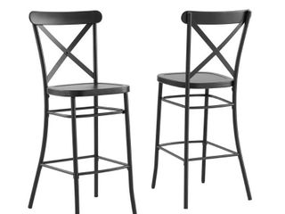 Set of 2 Camille Metal Barstools Matte Black   Crosley