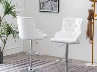 Best Quality Furniture Velvet  Faux leather Barstools with Nailhead Trim and Crystal Tufted Backside  Set of 2    White