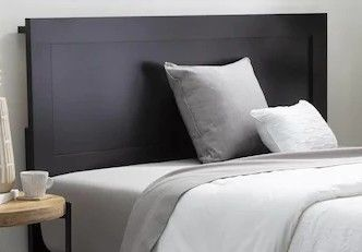 Brookside leah Classic Wood Framed Headboard  Only    Black   Twin with a Contemporary Raised Border