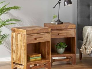 Wadley Indoor Acacia Wood Handcrafted Nightstands by Christopher Knight Home