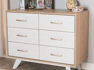 Mid Century White and Oak 6 Drawer Dresser