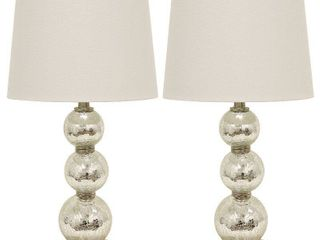 Tri Tiered Glass Table lamps  Set of 2  Damaged   See Photos