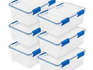 16 Qt  WEATHERTIGHT Storage Box in Clear  6 Pack