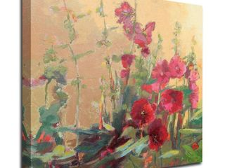 Red Haven Hollyhocks by Beth A  Forst  Print on Canvas  Ready to Hang