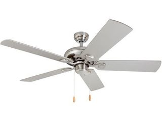 Porch   Den Duchilly Chilled Gray Chocolate Maple Blades  Brushed Nickel 52 inch Ceiling Fan