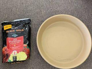 HC Companies Classic Plastic 24 Inch Round Flower Pot Plant Saucer  Sandstone   SunGro Black Gold All Purpose Natural Potting Soil Fertilizer Mix  8 Quart Bag  Retail  50 98