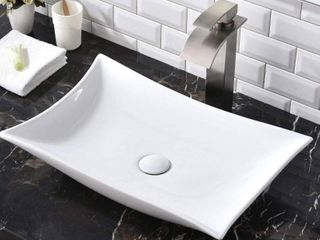 SHACO Contemporary 22 44  X 14 57  Porcelain Ceramic Above Counter Bathroom Vessel Sink  Countertop Bowl lavatory Vanity Big Bathroom Sink  Retail  78 99