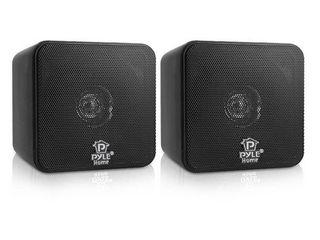 Pyle PCB4BK 4 Inch 200 Watt Mini Cube Bookshelf Stereo Speakers  Black  2 Pack   Retail  58 99