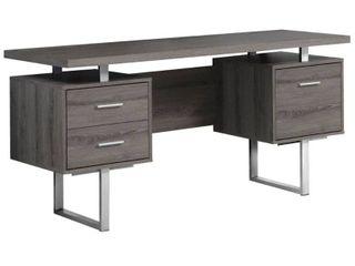 Monarch Specialties 60 Inch Modern Home Office Computer Desk  Dark Taupe  Retail  559 99