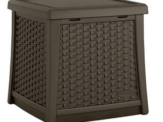 Suncast ElEMENTS Resin Patio Storage End Table   Java