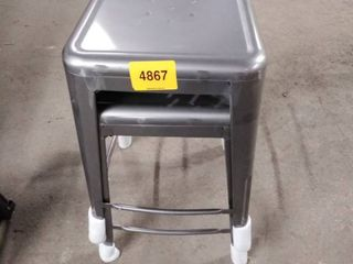 silver metal bar stools dented set of 2