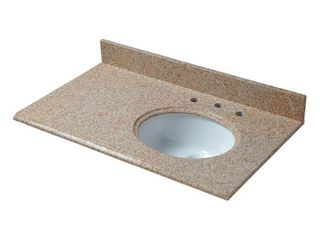 Pegasus 37 in  W Granite Vanity Top in Beige with Offset Right Bowl and 8 in  Faucet Spread