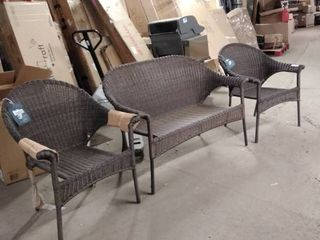 Garden Treasures Valleydale patio bench and chairs set of 3 brown plastic wicker as is