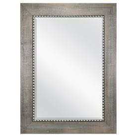 allen   roth 33 1 in x 45 1 in Gray with Pewter Beveled Rectangle Framed Contemporary Wall Mirror