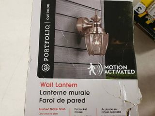 Portfolio 11 75 in H Brushed Nickel Motion Activated Outdoor Wall light