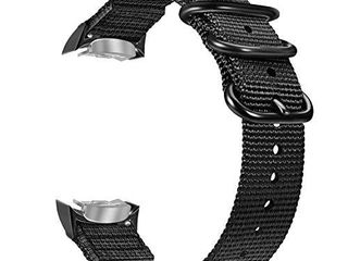 Fintie Band Compatible with Gear S2  Soft Woven Nylon Adjustable Replacement Sport Strap with Adapters Compatible with Samsung Gear S2 SM R720 SM R730 Smart Watch  Black