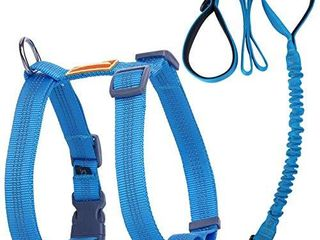 AdventureMore Comfort Harness   Bungee leash Set Nylon Reflective Adjustable Harness Shock Absorbing Double Handle leash l Blue