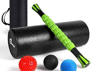 Odoland Foam Roller Set  18  Muscle Foam Roller  Muscle Roller Stick and Spiky Massage Balls for High Density Physical Therapy Exercise  Deep Tissue Trigger  Pain   Myofascial Relief Home Gym Set