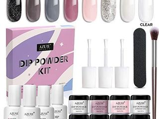 AZUREBEAUTY Nude Gray 8 Colors Dipping Powder Nail Starter Kit some are USED
