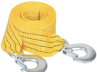 Premium Crane Towing Strap  Heavy Duty Tow Strap with Safety Hooks  13 2 feet x 2inch Tow Rope