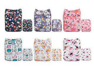 AlVABABY Cloth Diaper One Size Adjustable Washable Reusable for Baby Girls and Boys 6 Pack with Inserts 6DM37