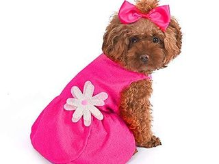 CuteBone Valentine s Day Dog Dress with Harness D Ring Pink Shirt Flower Costume Birthday Gift
