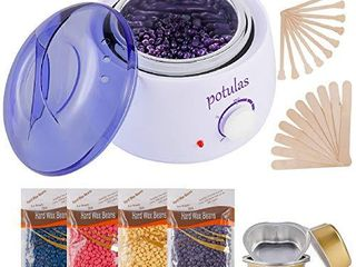 Hair Removal Waxing Kit  Wax Warmer with 4 PC Hard Wax Beans  14 1oz