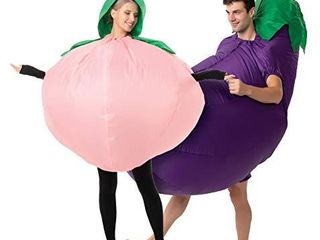 Spooktacular Creations Adult Peach and Eggplant Couple Inflatable Halloween Costume   Adult One Size