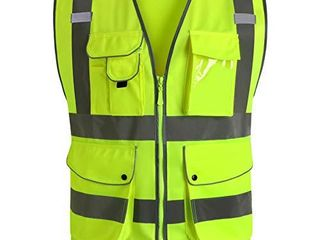 JKSafety 9 Pockets Class 2 High Visibility Zipper Front Safety Vest With Reflective Strips  3X large